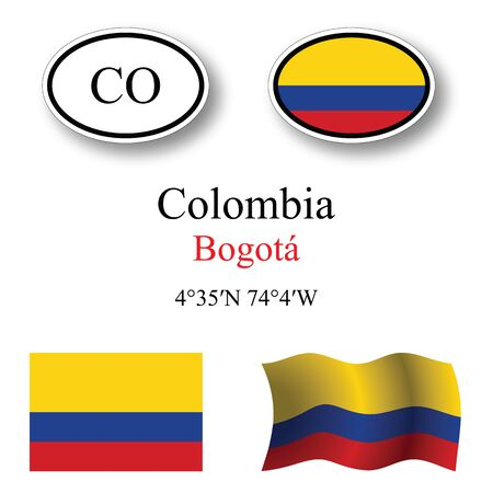 licence: colombia icons set against white background, abstract vector art illustration, image contains transparency
