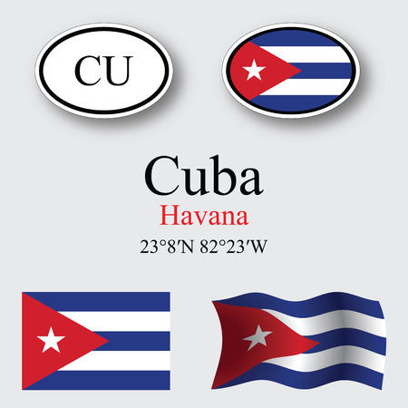 cuba icons set against gray background, abstract vector art illustration, image contains transparency Çizim