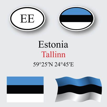 エストニア アイコンは灰色背景に、抽象的なベクトル アート イラスト、設定画像の透明部分を含む