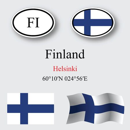 finland icons set against gray background, abstract vector art illustration, image contains transparency