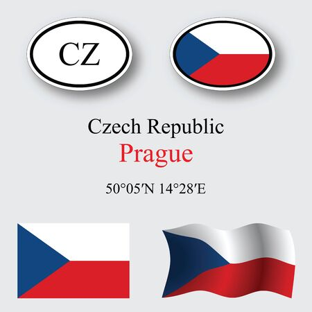 czech republic icons set against gray background, abstract vector art illustration, image contains transparency