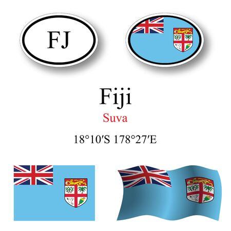 fiji: Fiji pictogrammen instellen tegen een witte achtergrond, abstract vector kunst illustratie, afbeelding transparantie bevat