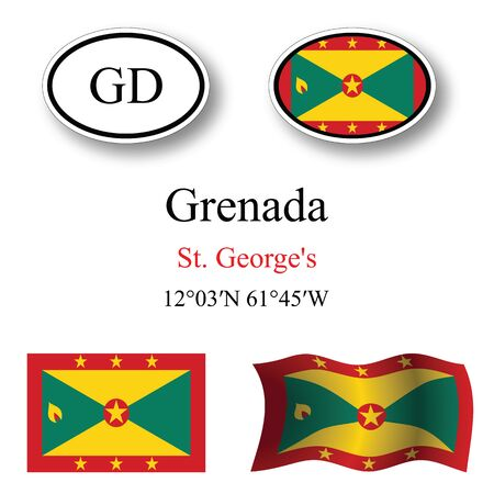 saint george: grenada icons set against white background, abstract vector art illustration, image contains transparency