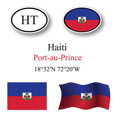 port au prince: haiti icons set against white background, abstract vector art illustration, image contains transparency
