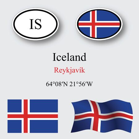 iceland icons set against gray background, abstract vector art illustration, image contains transparency