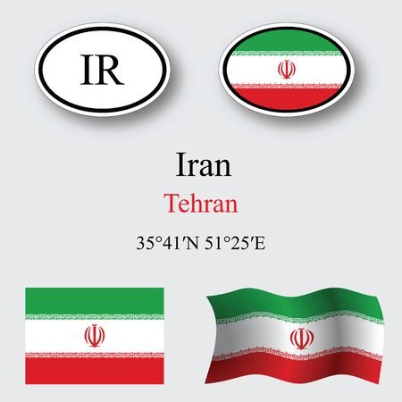 licence: iran icons set against gray background, abstract vector art illustration, image contains transparency