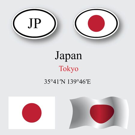 japan icons set against gray background, abstract vector art illustration, image contains transparency Illustration