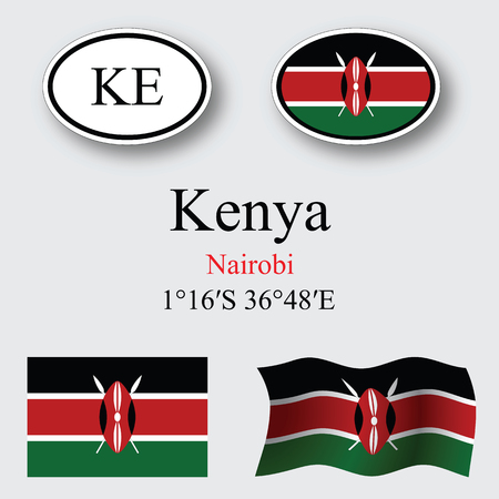 licence: kenya icons set against gray background, abstract vector art illustration, image contains transparency