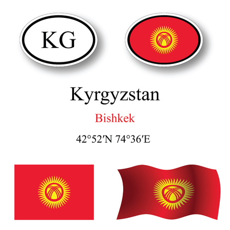 white background'abstract: kyrgyzstan icons set against white background, abstract vector art illustration, image contains transparency
