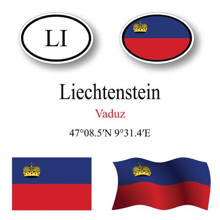 licence: liechtenstein icons set against white background, abstract vector art illustration, image contains transparency Illustration