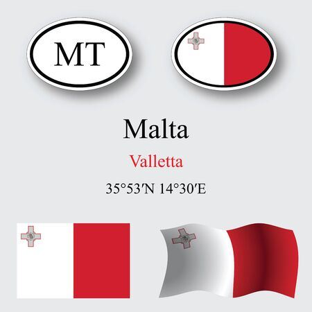 malta icons set against gray background, abstract vector art illustration, image contains transparency 일러스트