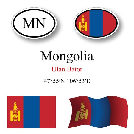 licence: mongolia icons set against white background, abstract vector art illustration, image contains transparency