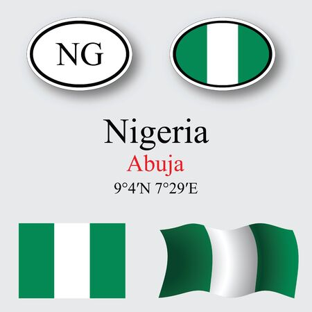 nigeria icons set against gray background, abstract vector art illustration, image contains transparency Çizim