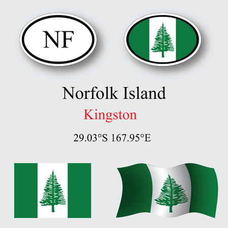 kingston: norfolk island icons set against gray background, abstract vector art illustration, image contains transparency