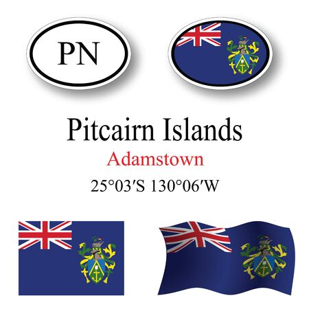 pitcairn: pitcairn islands icons set against white background, abstract vector art illustration, image contains transparency Illustration