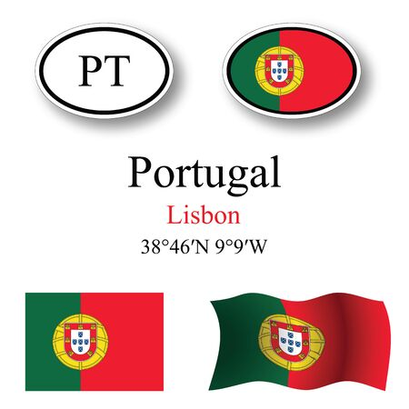 portugal icons set against white background, abstract vector art illustration, image contains transparency 矢量图像