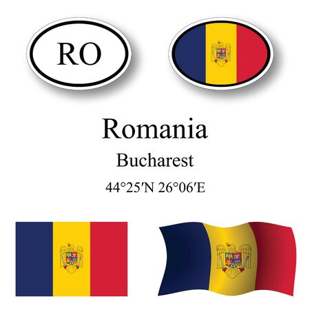 romania icons set against white background, abstract vector art illustration, image contains transparency Ilustracja