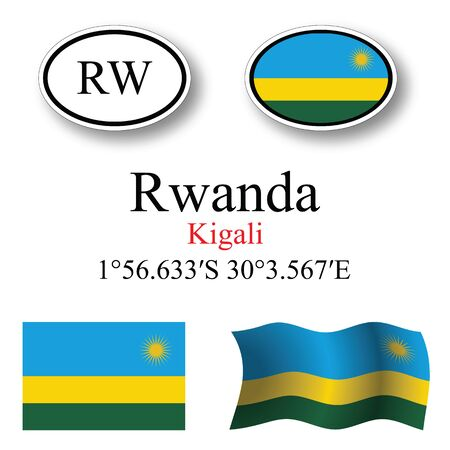 kigali: rwanda icons set against white background, abstract vector art illustration, image contains transparency