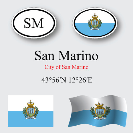 san marino: san marino icons set against gray background, abstract vector art illustration, image contains transparency Illustration