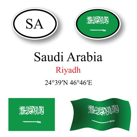 licence: saudi arabia icons set against white background, abstract vector art illustration, image contains transparency