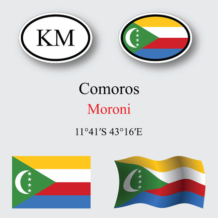 licence: comoros icons set against gray background, abstract vector art illustration, image contains transparency