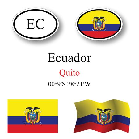 republic of ecuador: ecuador icons set against white background, abstract vector art illustration, image contains transparency Illustration