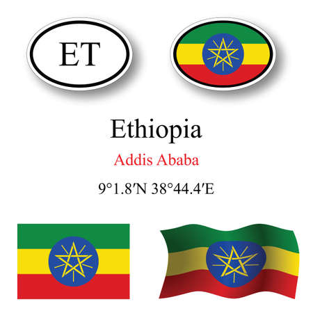 ethiopia abstract: ethiopia icons set against white background, abstract vector art illustration, image contains transparency