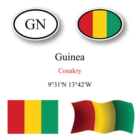 licence: guinea icons set against white background, abstract vector art illustration, image contains transparency Illustration