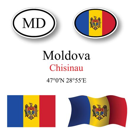moldova icons set against white background, abstract vector art illustration, image contains transparency