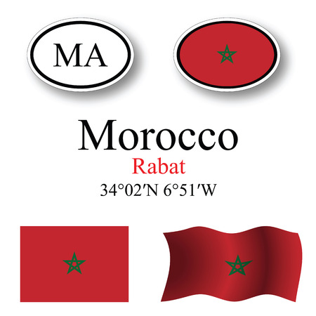 morocco icons set against white background, abstract vector art illustration, image contains transparency Illusztráció