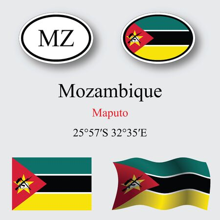 licence: mozambique icons set against gray background, abstract vector art illustration, image contains transparency