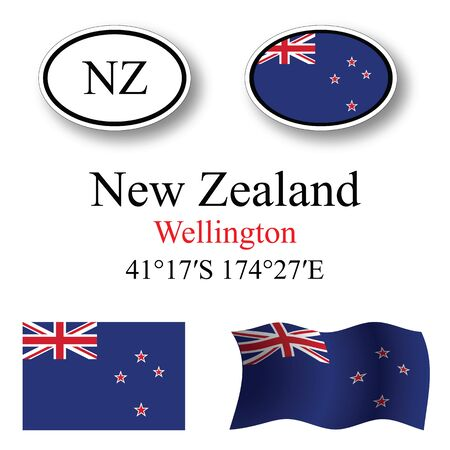 new zealand icons set against white background, abstract vector art illustration, image contains transparency Çizim