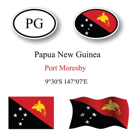 papua new guinea icons set against white background, abstract vector art illustration, image contains transparency