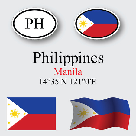 philippines icons set against gray background, abstract vector art illustration, image contains transparency 向量圖像