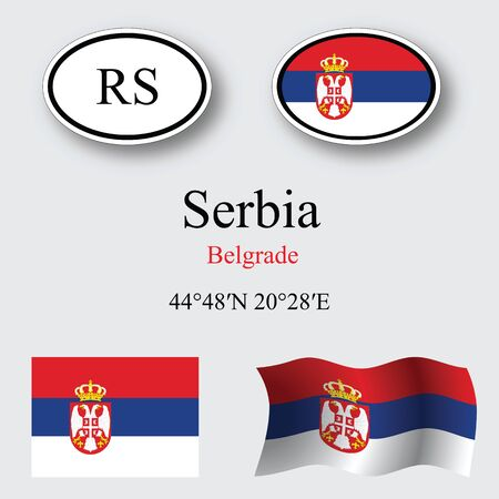 serbia icons set against gray background, abstract vector art illustration, image contains transparency