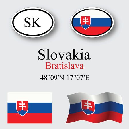 licence: slovakia icons set against gray background, abstract vector art illustration, image contains transparency Illustration