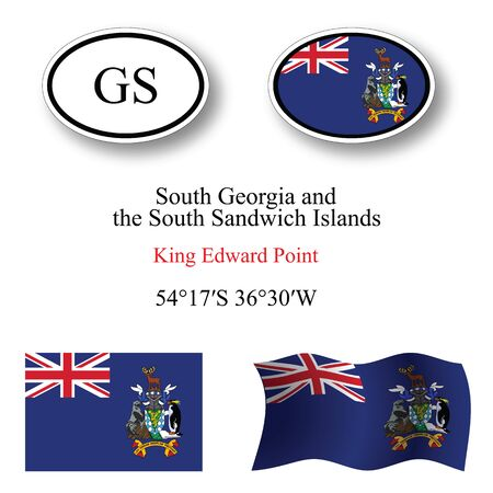 king edward: south georgia and south sandwich islands icons set against white background, abstract vector art illustration, image contains transparency