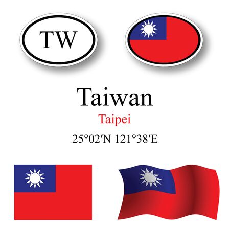 taiwan set against white background, abstract vector art illustration, image contains transparency