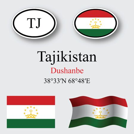 licence: tajikistan set against gray background, abstract vector art illustration, image contains transparency Illustration