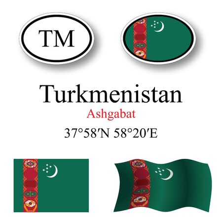 turkmenistan set against white background, abstract vector art illustration, image contains transparency