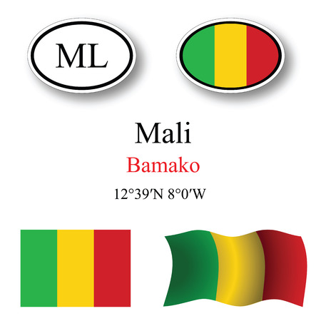 bamako: mali icons set against white background, abstract vector art illustration, image contains transparency
