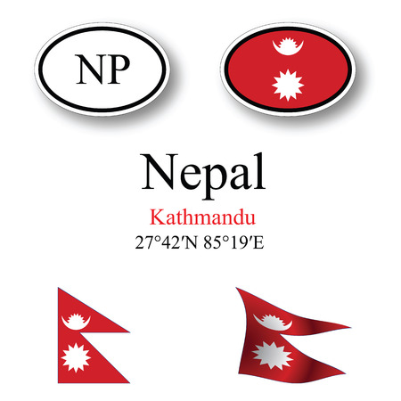 licence: nepal icons set against white background, abstract vector art illustration, image contains transparency