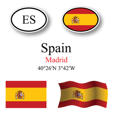 spain icons set against white background, abstract vector art illustration, image contains transparency