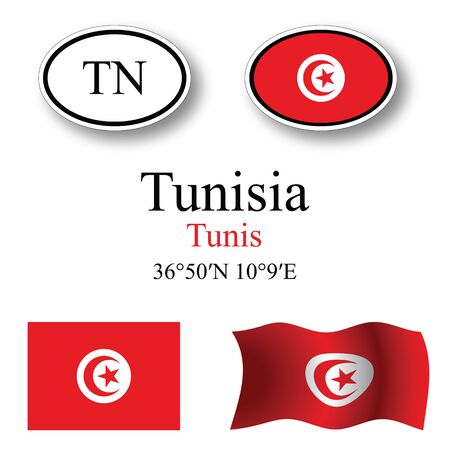 tunisia set against white background, abstract vector art illustration, image contains transparency Çizim