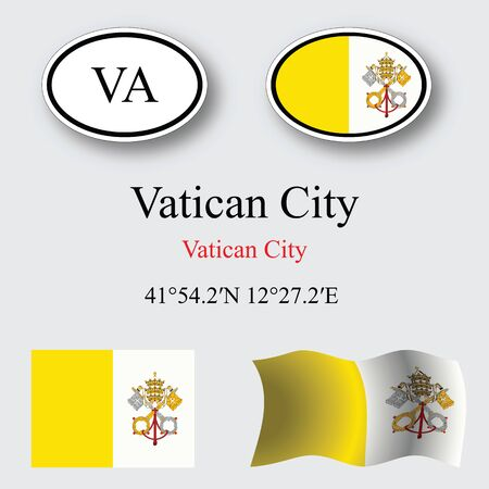 vatican city: vatican city icons set against gray background, abstract vector art illustration, image contains transparency
