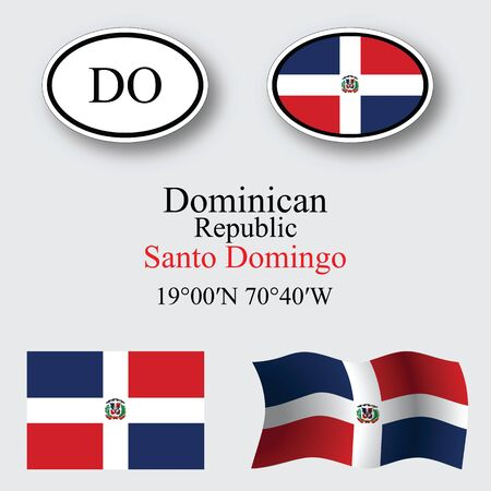 dominican republic: dominican republic icons set against gray background, abstract vector art illustration, image contains transparency