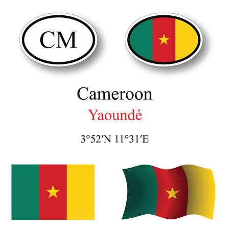 transparency: cameroon icons set icons set against white background, abstract vector art illustration, image contains transparency