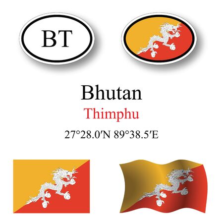 bhutan icons set against white background, abstract vector art illustration, image contains transparency