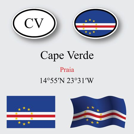 praia: cape verde icons set icons set against gray background, abstract vector art illustration, image contains transparency Illustration