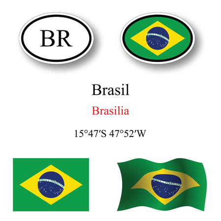 brasil: brasil icons set icons set against white background, abstract vector art illustration, image contains transparency